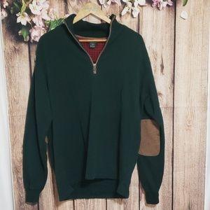 Woolrich green half zip sweatshirt